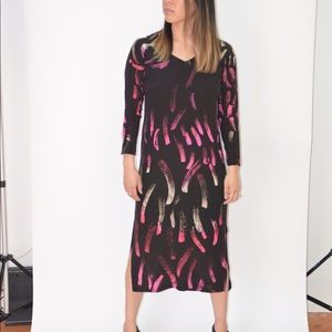 Vintage Black Silk Dress with Brush Stroke Pattern